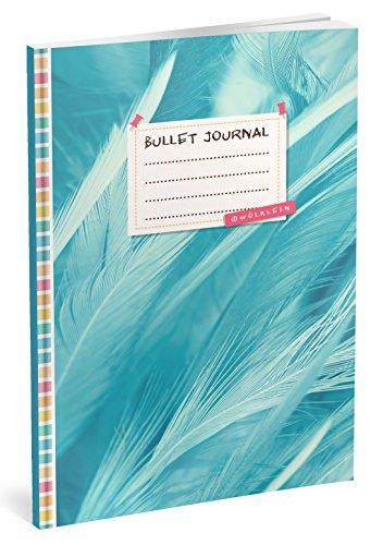 Bullet Journal: Punktraster Notizbuch (Ca. A5) + 100 Seiten + Vintage Softcover | TOP Motiv: Blaue Feder | Dotted Grid Notebook, Kaligrafie Papier, Punktpapier +++ Jetzt mit Register +++