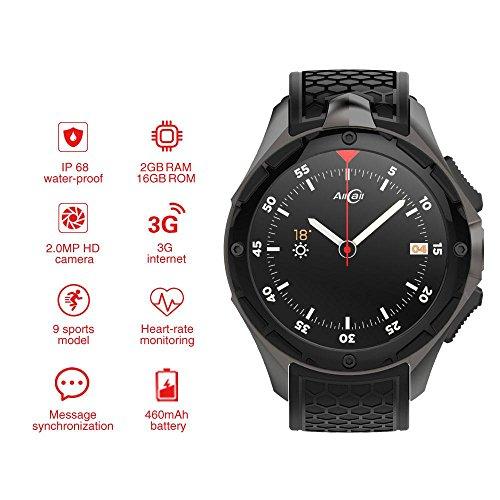 884cef76d AllCall W2 Smartwatch(2018 Upgrated), IP68 Waterproof 3G Smartwatch Phone  2GB RAM 16GB