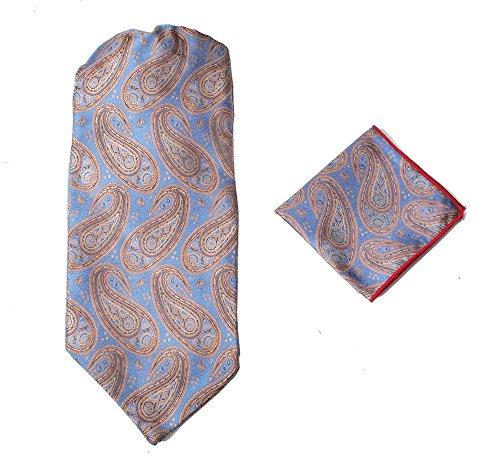 Herren-Premium-Ascot-Krawatte, Italienische Designerkrawatte, 100% Seide, Paisleymuster, mit Einstecktuch Gr. Einheitsgröße, Blue Brown Paisley (Italienische Aus Hemden Seide)
