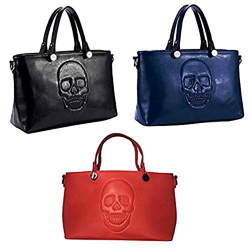 Mechaly , Damen Tote-Tasche Black, Blue & Red Satchel