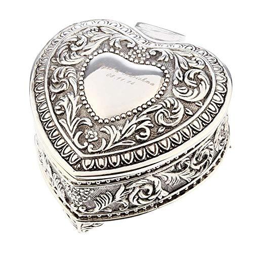 Schmuckschatulle Vintage-Schmuck Liebesherz Schachtel aus Metall Kreative Europa-Art, die alte Wege wieder herstellt Herzförmige Schachtel Rosen Ring Halskette Armband Aufbewahrungsbox Organ