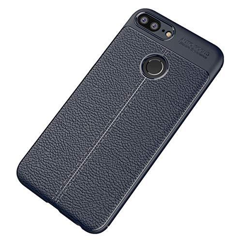 Preisvergleich Produktbild Alsoar ersatz für Huawei Y6 2019 Hülle, Ultra Dünn Weich TPU Silikon Huawei Y6 2019 Handyhülle Anti-Scratch Stoßfest Flexibel Litschi-Muster Leder Braun Case 360 Grad Schutzhülle (Blau)