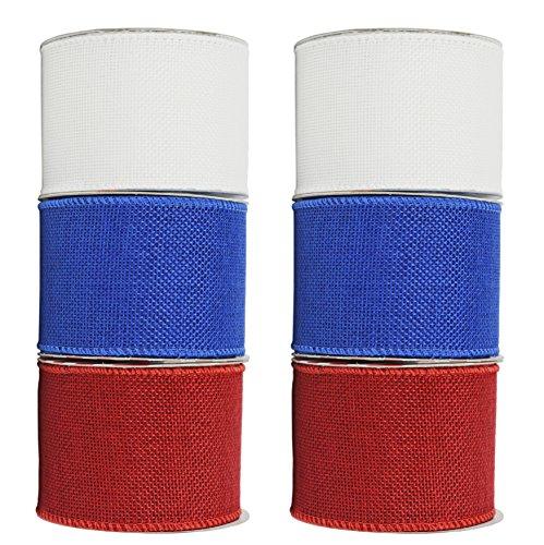 Draht Rolle Bänder.-6,3cm x3yds Pro Rolle-Atemberaubende Patriotische Farben, die sind perfekt für Geschenkverpackungen, Dekorationen und mehr. 6 Burlap ()
