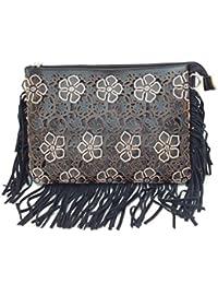DIETZ Clutch mit floralem Lasercut mit Strass 28x20x5cm Partybag Unterarmtasche