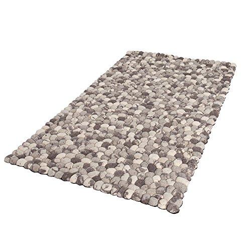 Invicta Interior Einzigartiger Teppich Organic Living 200x120cm grau Filz Steinoptik handgewebt Wohnzimmerteppich Wollteppich (Filzteppich)