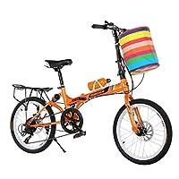 Yunyisujiao Folding Bicycle 20 Inch Shifting Disc Brakes Double Shocking One Wheel Men And Women Students Adult Ultra Light Mountain Bike (Color : BLACK, Size : 155 * 30 * 95CM)