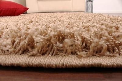 Shaggy Rug High Pile Long Pile Modern Carpet Uni Beige - low-cost UK light store.