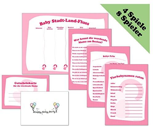 HappybabypartyDE Babyparty Spiele-Set rosa mit 4 Spielen für je 8 Spieler in Deutsch (Baby Stadt-Land-Fluss, Wer kennt die Mama am Besten?, Babys Erbe, Tierbabynamen raten)