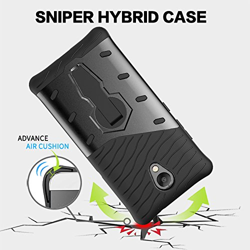 YHUISEN Lenovo P2 Case, Hybrid Tough Rugged Dual Layer Rüstung Schild Schützende Shockproof mit 360 Grad Einstellung Kickstand Case Cover für Lenovo Vibe P2 ( Color : Black ) Black