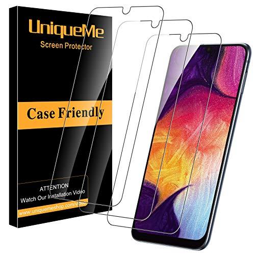 uniqueme per pellicola vetro temperato samsung galaxy a50 / a30 / m30, [3 pezzi] [ultra resistente] pellicola protettiva [garanzia di sostituzione a vita]