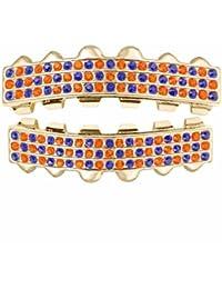 Hombre Chapado En Oro 3Fila naranja/azul piedra Hip Hop Bling extraíble dientes superior & inferior conjunto de joyas