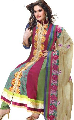 Exotic India Women Art Silk With Chiffon Salwar Suit Set (Skj21-M _Multi-Coloured...