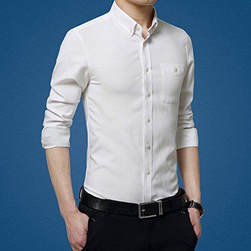 Casual Camicia Slim Fit Colletto Button-Down / Camicia classiche - Uomo Taglia M/L/XL/XXL/3XL Bianca