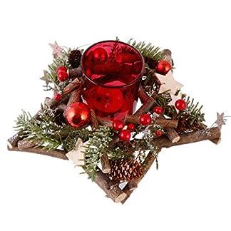 Dibor Red Festive Christmas – Portavelas con Forma de Cono de Pino (BG20), Color Rojo