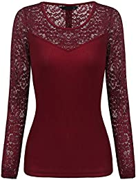Eg /_ Damen Mode Hohl Spitze Kurzärmelige BLUSE Freizeit Hemd Slim Fit Top Nett