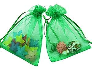 Bolsas de organza Shatchi, color verde, 9 x 7, 10 unidades, color verde, para regalo de boda, fiesta, joyas, bolsas de 7 x 9 cm