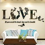 Janly 3D LOVE Letters Wandaufkleber Kunst Blatt Floral Vogel Aufkleber Vinyl Wandtattoos für Wohnzimmer Schlafzimmer Badezimmer Office Home (Schwarz)