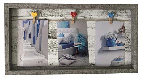 Bilderrahmen Rahmen Grau für 3 Fotos mit Seil/Leine und Herz-Klammern 42 x 22 x 2,5 cm Kunststoff ()