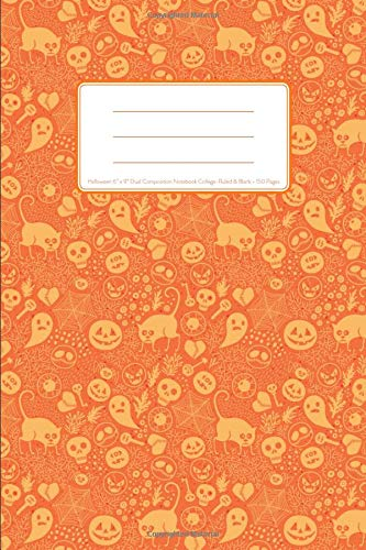 "Halloween 6"" x 9"" Dual Composition Notebook College-Ruled & Blank 