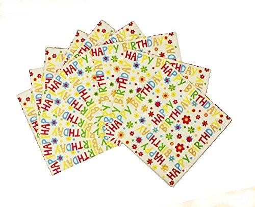 HAAC 20er Set Servietten 3-lagig 33x33 cm Happy Birthday mit Blume Farbe bunt