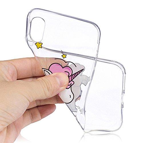 Slynmax Ultra Thin TPU Cover per iPhone X Custodia Silicone Caso Molle di Morbido Sottile Gel Transparent Bumper Case Protettiva Caso Chiaro Copertura Slim Thin Skin Shell Protezione per iPhone X Soft Modello #23