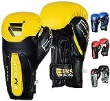 Guantes de boxeo Emrah de piel con gel, para entrenamiento de boxeo o Muay Thai, color amarillo, tamaño 12 onzas