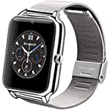 LENCISE New L1 Smart Watch Phone NFC 2G Internet Bluetooth Wearable Devices Support SIM Card TF Card Smartwatch for Apple Android (Silver)