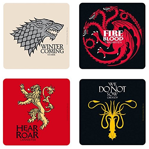 Game of Thrones – Untersetzer 4er Set – Häuser – Wappen Logo