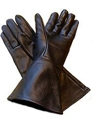 Leather Gauntlet Gloves Black Medium