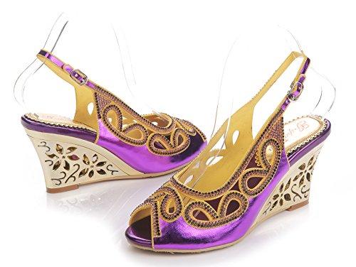 Honeystore Frauen Keil Absatz Sandalen Slingpumps mit Strass Schuhe Violett
