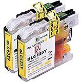Image of 2Gelb PerfectPrint Kompatible Tintenpatronen ersetzen LC-123Für Brother DCP J132W J152W J552DW J752DW J4110DW/MFC J650DW J870DW J4410DW J4510DW J4610DW J4710DW J470DW