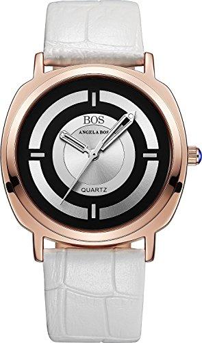 Angela Bos de las mujeres Anolog de cuarzo japonés luminated puntero reloj hebilla de piel Para Muñeca Banda 8007blanco