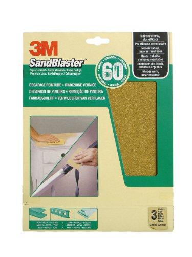 3M SandBlaster Hochleistungsschleifpapier Körnung P60/grob für den Farbabschliff, 230 x 280 mm, 3-er Pack 60-060
