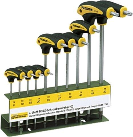 Proxxon Industrial L-Griff Schraubendrehersatz T-Profil (10 teilig, Torx Schraubendreher, mit Halter) 22652