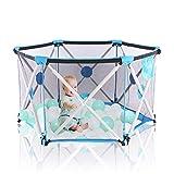 Arkmiido Parque Infantil Plegable Robusto, Parques de Juegos para Bebé, Portátil en Azul (Hexágono)