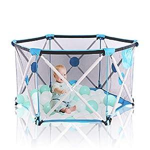 Arkmiido Laufstall baby, Laufgitter Faltbar und Tragbar, Laufstall Sechseckig mit Netz, Innen- und Außenspiel für Kinder…