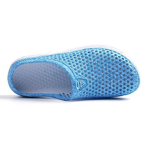 JACKSHIBO Herren Sommer Atmungsaktiv Mesh Hausschuhe Damen Outdoor Slippers Wasserschuhe Blue