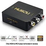 Musou - HDMI al Convertidor de AV, HDMI al Adaptador de Señal RCA, Puede Convertir la Señal Digital HDMI a AV Señal de Compuesto Vídeo y Audio Estéreo FL / FR (CVBS Conversor), Soporte PAL / NTSC Interruptor, Full HD 3D 1080P, Negro