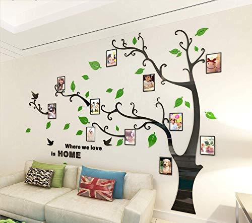 Topmail 3D Wandaufkleber Acryl Wand Sticker mit Abnehmbar Zweigen und Bilderrahmen Wohnzimmer Schlafzimmer Kinderzimmer Hintergrund Wandtattoo, Baum und Schmetterling