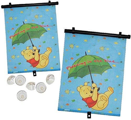 Unbekannt 2 TLG. Set: Sonnenschutz - Rollo /  Disney - Winnie The Pooh  - für Fenster und Auto - Seitenscheibe / Sonnenblende Kinder - Sonnenrollo Fensterschutz Rollo..