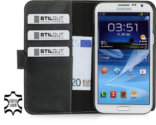 StilGut Talis, esclusiva custodia funzione portafogli in vera pelle per Samsung Galaxy Note 2 N7100, nero