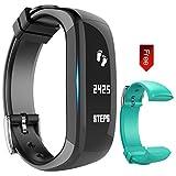 Activity tracker, Fitness band, OLED Touchscreen Bluetooth Braccialetto, Impermeabile Sport Braccialetti Fitness Intelligente - Contapassi/Monitoraggio del Sonno/Notifiche Chiamate/SMS, Hembeer (Verde Nero)