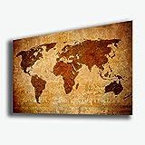 Quadro MAPPA MONDO Mappamondo continente Vintage Antico STAMPA SU TELA Quadri Moderni XXL Moderno Arredamento arredo Cucina Salotto Soggiorno Camera da letto printerland.it (70x100 cm)