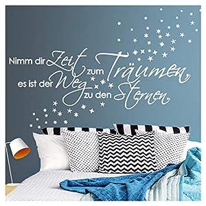 Wandora G003 Spruch Nimm dir Zeit zum Träumen I weiß (BxH) 135 x 41 cm I Sterne Schlafzimmer Aufkleber selbstklebend Wandaufkleber Wandsticker