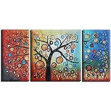 Raybre Art® 3pcs/set 100% Dipinti a Mano Quadri Olio su Tela Moderni Astratti Albero della Vita Lucky Pittura ad Olio Colorato per Decorazione della Arte Parete Casa, Senza Cornice