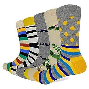 LILIKI@ 5 Paare/Los Art- Und Weisequalitäts-Socken Für Männer Mit Zebra-Punkt-Streifen-Muster-Glücklichen Lustigen Farbigen Langen Kleid-Socken