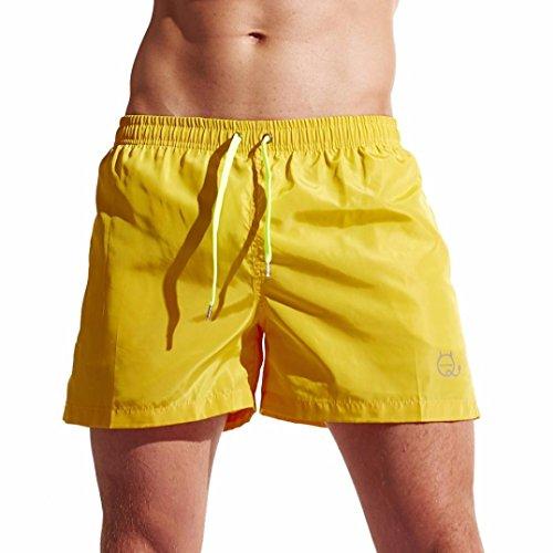 OverDose Herren Shorts Badehose Quick Dry Beach Surfing Running Schwimmhose Sporthose Bademode Strandhosen Strandshorts(A-Yellow ,L)