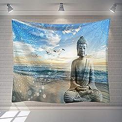 Tapestry Wall Hanging,Hippie Psychedelischen Große Rechteckige Drucken Stoff Wandteppiche, Blauer Himmel Meer Strand Stein Buddha Skulptur Landschaft, Indische Kunst Drucken Wandmalerei, Für Schlaf
