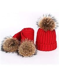 HHF Caps y Sombreos Sombrero de Pompones de Piel de Mapache Nuevo otoño e  Invierno de Punto Sombrero Color Cálido y cómodo Esquí… 9501047746f