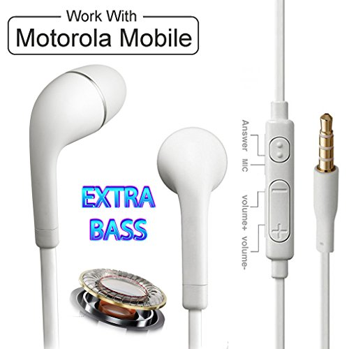 In-Ear Headphone for Motorola Moto G4 Plus / Motorola Moto G 4 Plus (Moto G4Plus) / Motorola Moto G4 Plus Earphones Like Headsets | Best Performance Handsfree With Mic, Calling, Music, 3.5mm Jack White